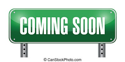 coming soon road sign illustration design over white