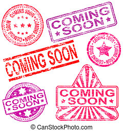 Coming Soon Rubber Stamps - Rectangular, triangular and...