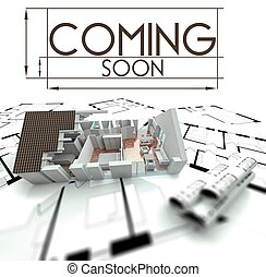 Coming soon sign, project of house on blueprints