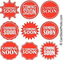 Coming soon signs set, coming soon sticker set, vector...