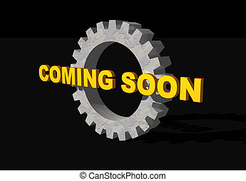 coming soon text and gearwheel on black background - 3d...