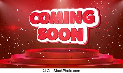Coming Soon Text Animation Stage Podium Confetti Loop Animation