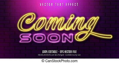 Coming soon text,  neon style editable text effect