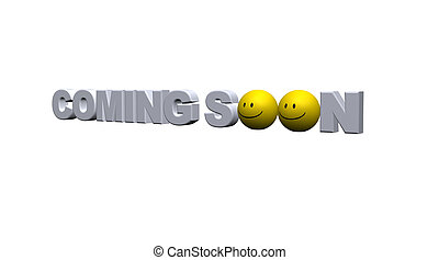 coming soon text with smileys - 3d illustration