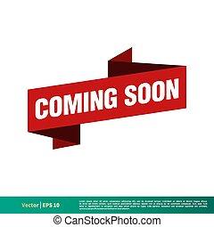 Coming Soon Vector Ribbon Banner Template Illustration Design. Vector EPS 10.