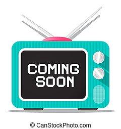 Coming Soon Vector Sign on Retro TV Screen