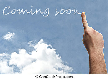 Coming soon word on blue sky