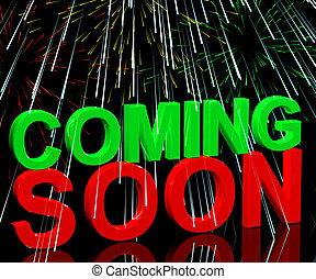 Coming Soon Words With Fireworks Shows New Product Arrival Announcement