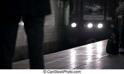 Coming train in underground.