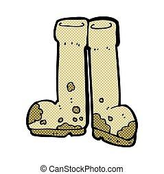 comique, boueux, bottes, dessin animé