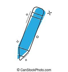 comique, caoutchouc, éclaboussure, crayon, icône, style., effect., gomme