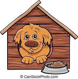 comique, chien, dessin animé, chenil, caractère, animal