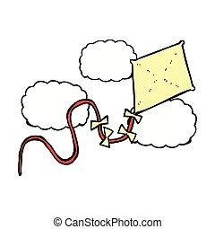comique, dessin animé, cerf volant
