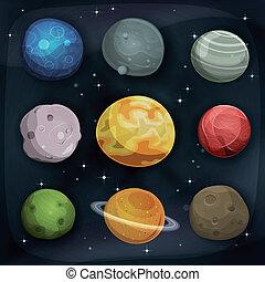 comique, ensemble, fond, planètes, espace