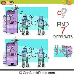 comique, jeu, différences, robot, caractères