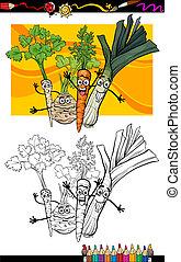 comique, Légumes, coloration, groupe, Livre