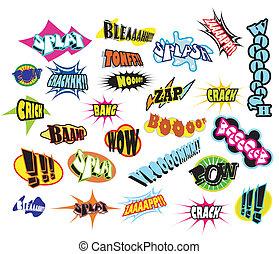 comique, mot, expressions