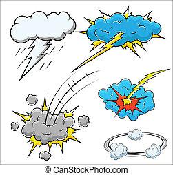 comique, vecteur, explosion, illustration