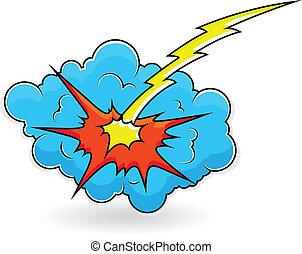comique, vecteur, explosion, nuage, éclater