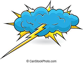 comique, vecteur, explosion, nuage