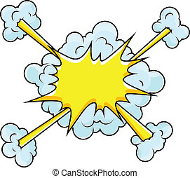 comique, vecteur, nuages, explosion