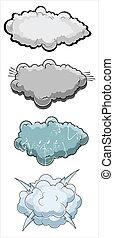 comique, vecteur, nuages, illustration