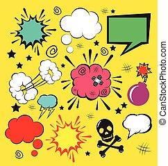 comique, vecteur, parole, bulles, ensemble