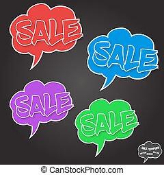 comiques, bulles, concept, vente, vecteur