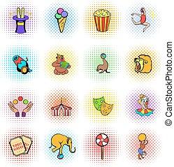 comiques, cirque, ensemble, icônes