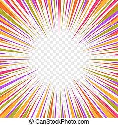 comiques, graphique, couleur, lignes, arrière-plan., vecteur, effets, radial, vitesse, transparent