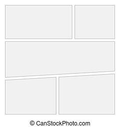 comiques, vide, disposition, gabarit, arrière-plan., vecteur, page, 1