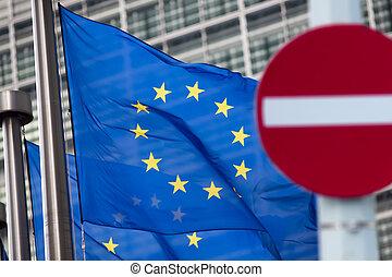 comission, russie, sanctions., signe, écriture', devant, flags., 'no, européen