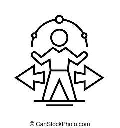 Comlicated tasks line icon, concept sign, outline vector illustration, linear symbol.