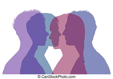comlpicated couple relationships - four superimposed...