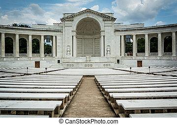 commémoratif,  Arlington, virginie,  Arlington,  national, amphithéâtre, Cimetière