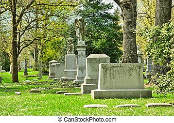 commémoratif, bornes graves, à, historique, printemps,...