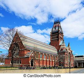 commémoratif, boston, massachusetts., université, erigé, war., civil, américain, harvard, fought, diplômés, était, honneur, salle, union