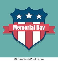 commémoratif, bouclier, usa, intérieur, day., drapeau, ruban