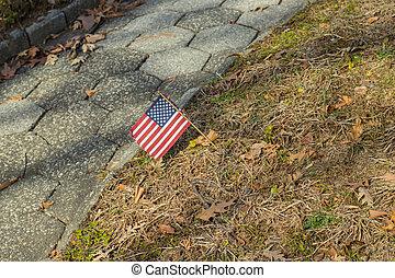 commémoratif, cemetery-, national, jour, américain fléchit, petit, exposer