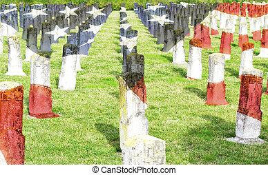 commémoratif, cimetière, vétéran, -, guerre, patrie, mondiale, héros, baissé, jour