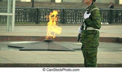 commémoratif, lent, coup, brûler, armé, camouflage, mouvement, garde, long, super, uniform.