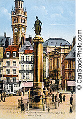 commémoratif, lille, colonne, tête, vieux, bureau, carte postale, lille