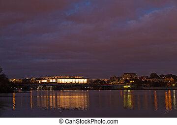 commémoratif, usa., panorama, washington dc, arlington, pont, photographié