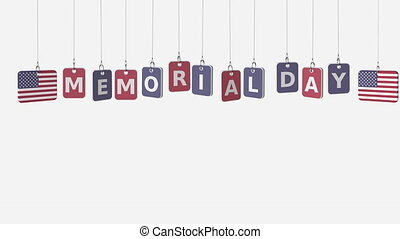 commémoratif, usa, simple, texte, plates., mat, drapeaux,...