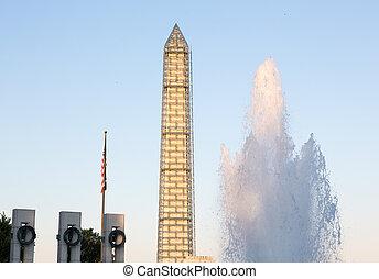 commémoratif, washington dc, ii, monument, guerre mondiale