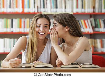 commérage, adolescent, étudiant