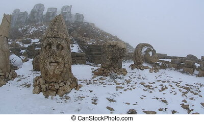 Commagene Kingdom (Komagene Krall built on the mountain top a tomb-sanctuary flanked by huge statues at Mount Nemrut Turkey