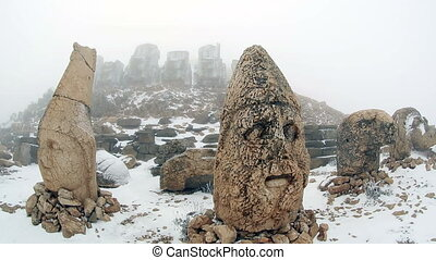 Commagene Kingdom (Komagene Krall%u0131g%u0131) built on the mountain top a tomb-sanctuary flanked by huge statues at Mount Nemrut Turkey