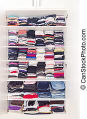 commandé, placard, neatly, thickly, assaisonnement, arrangé, blanc, vêtements