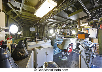 Command center interior on navy warship. Army military equipment